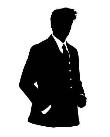 user icon: Graphic illustration of man in business suit as user icon, avatar