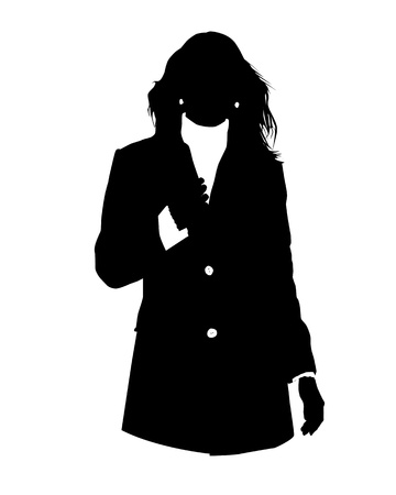 woman tie: Graphic illustration of woman in business suit as user icon, avatar