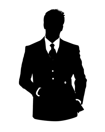 by admin: Graphic illustration of man in business suit as user icon, avatar