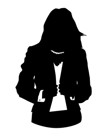 woman back of head: Graphic illustration of woman in business suit as user icon, avatar