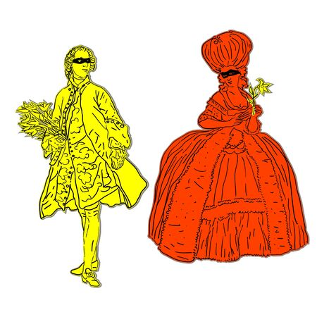 frock coat: antique rococo costumes stickers on masked silhouettes, isolated on white