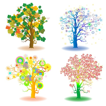 four seasons trees, winter, spring, summer, autumn, artistic icons Vector