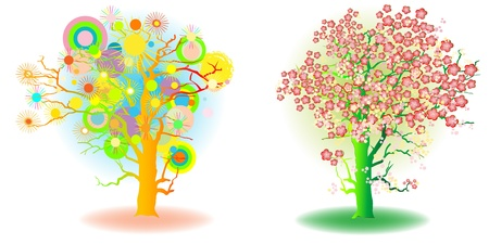 two seasons trees, spring and summer, artistic icons Vector