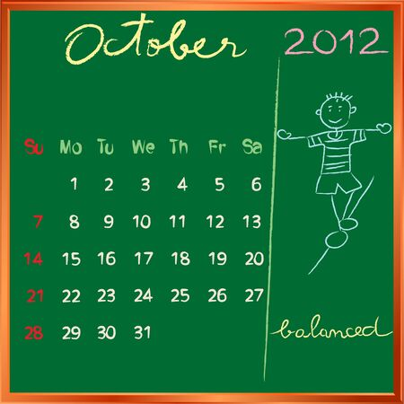 2012 calendar on a blackboard, october design with the happy balanced student profile for international schools Vector