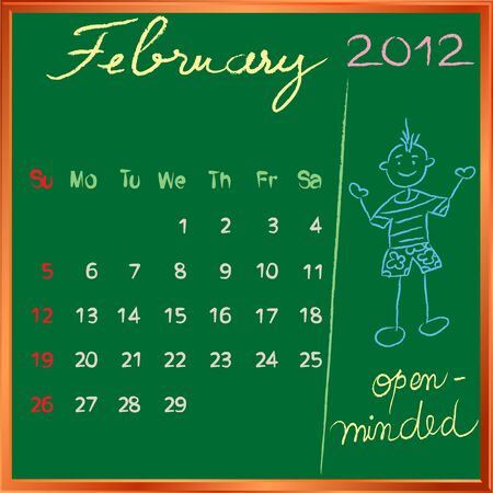 2012 calendar on a blackboard, february design with the happy open minded student profile for international schools Vector