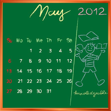 knowledgeable: 2012 calendar on a blackboard, may design with the knowledgeable happy student profile for international schools