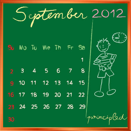 2012 calendar on a blackboard, september design with the happy principled student profile for international schools Vector