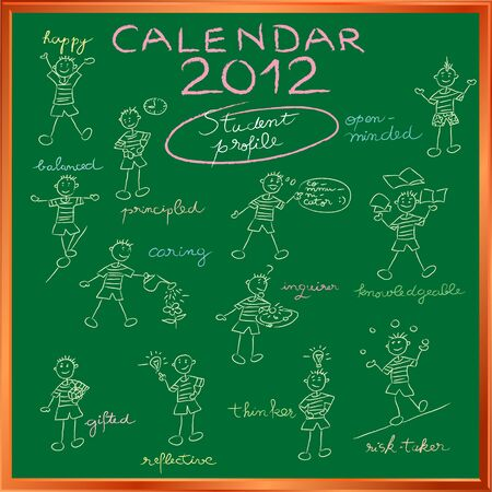 2012 calendar on a blackboard with the student profile for international schools, cover design Stock Vector - 11479215