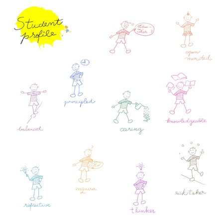 hand drawn children composition for international school, student profile doodles set Vector