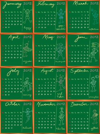 2012 calendar on a blackboard, hand drawn student profile design for international schools Vector