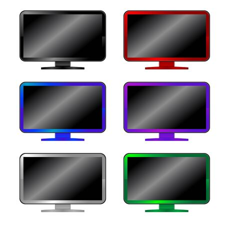 set of colored computer monitors, six pieces isolated on white Vector