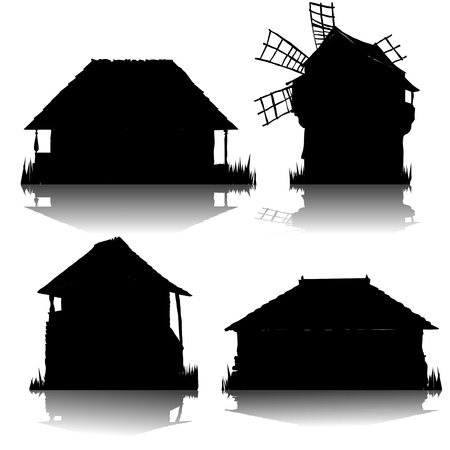 homestead: ecological country houses silhouettes collection Illustration