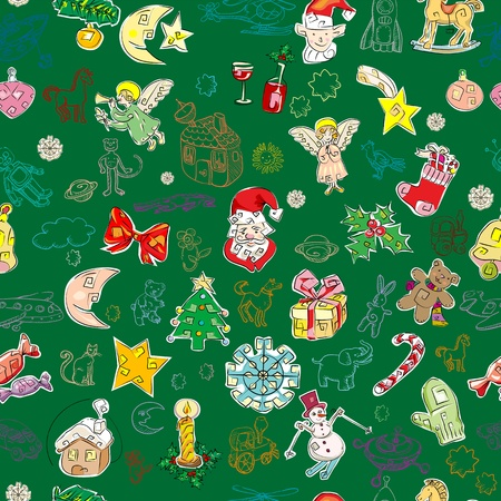 christmas pattern with toys and season greetings icons on a green background, childlike drawn wallpaper  Vector