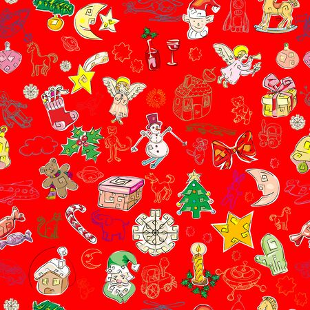 stoking: christmas pattern with toys and season greetings icons on a green background, childlike drawn wallpaper Illustration
