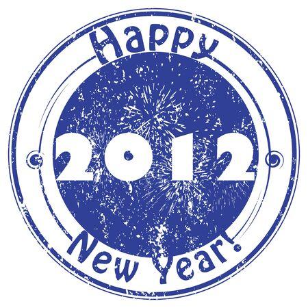 happy new year stamp: 2012 el sello Feliz A�o Nuevo, saludos de invierno