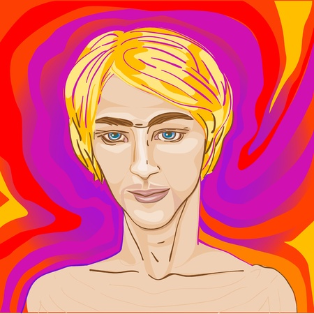 dorian: handsome young man over a psychedelic beautiful pop art backgrond, Dorian