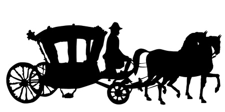 whip, horse and carriage silhouettes isolated on white, rococo style coach Vector
