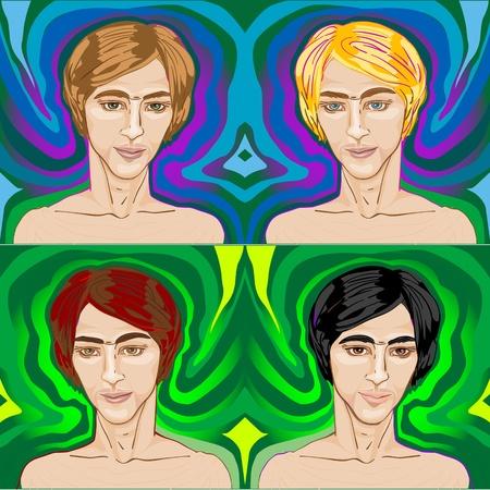 redheaded: apuestos j�venes sobre fondos psicod�licos, conjunto de pop art