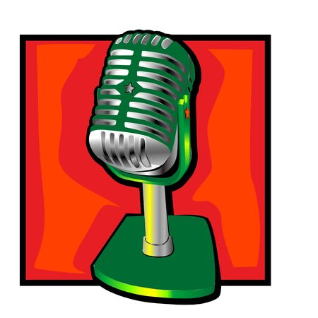 retro microphone clip art with a decorative star  Vector