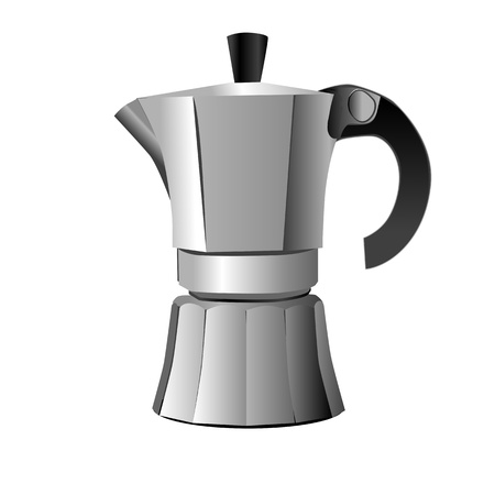 silver classic esspresso and metal cup isolated on white, retro objects Illustration