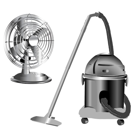 retro silver wind fan and vacuum cleaner isolated on white Vector