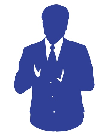 userpic: Graphic illustration of a man in blue business suit as user icon, avatar
