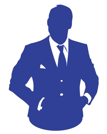 avatar: Graphic illustration of a man in blue business suit as user icon, avatar