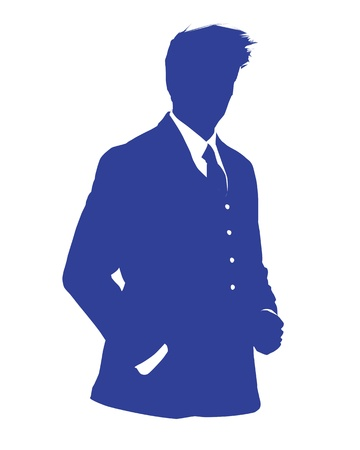 Graphic illustration of a man in blue business suit as user icon, avatar Stock Vector - 12061863