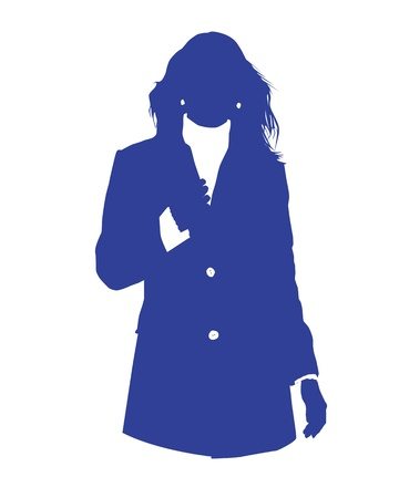 Graphic illustration of a woman in blue business suit as user icon, avatar Stock Vector - 12061836