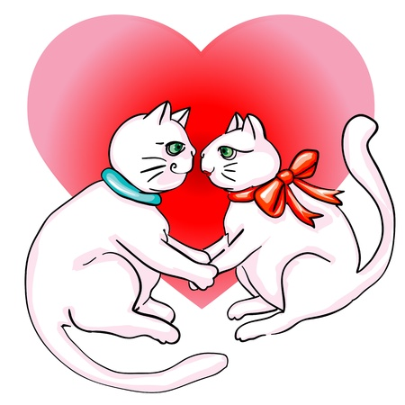 Valentine's Day cute cats in love, clip art isolated on white Stock Vector - 12061832