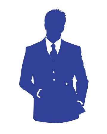 Graphic illustration of a man in blue business suit as user icon, avatar