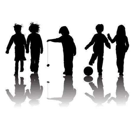 programme: los ni�os amigos de la escuela siluetas, ni�as y ni�os de m�s de blanco Vectores