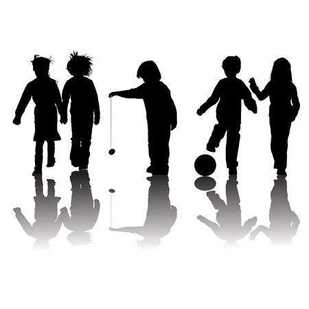 yoyo: school kids friends silhouettes, girls and boys over white Illustration