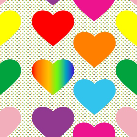 valentine's day pattern with colored hearts and pop art background Vector