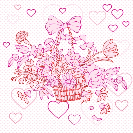 valentine rococo basket over shiny texture with pink hearts Vector
