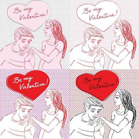 Valentines Day pop art card set with romantic lovers in casual clothes and heart shaped bubble Vector