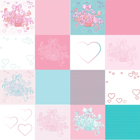 shabby chic background: valentines day shabby chic pattern with twelve different tiles, hearts and flowers basket