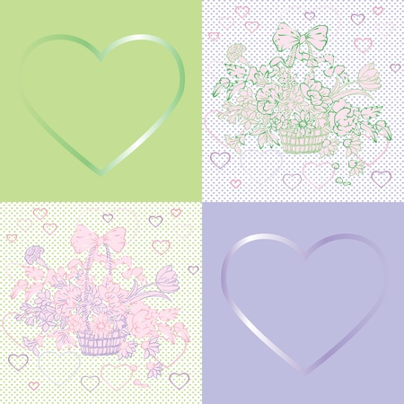 valentines day shabby chic violet pattern with different tiles and flowers basket Vector