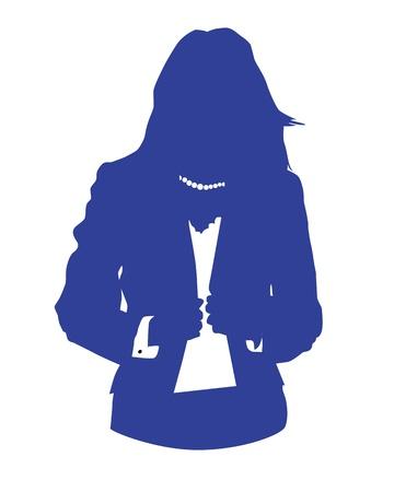 woman back of head: Illustrazione grafica di una donna in tailleur blu come utente icona, avatar Vettoriali