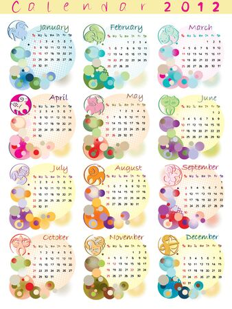 calendar 2012 with zodiac signs and pop art disco dots Vector