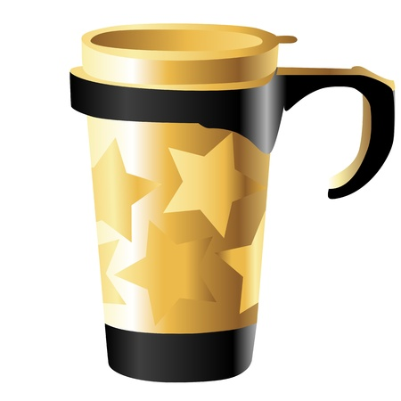 golden metal cup with stars isolated on white