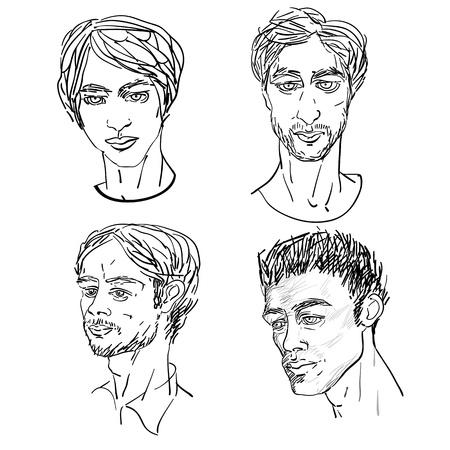 attractive men prortraits, 1950, 1960 and 1980 icon Stock Vector - 12303969