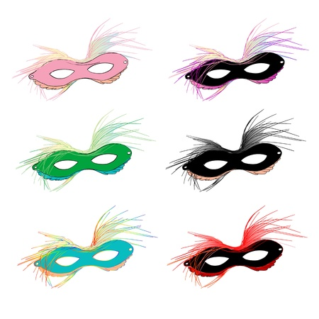 Mardi Gras carnival set of masks with feather over white Vector
