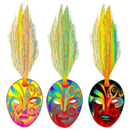 Mardi Gras carnival set of venetian masks with feather over white Vector