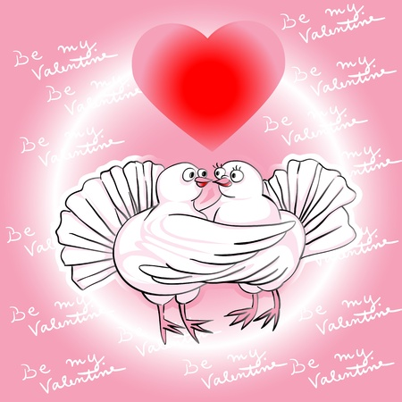 holly day: Valentines Day card with pigeons in love under a magic heart, be my Valentine Illustration