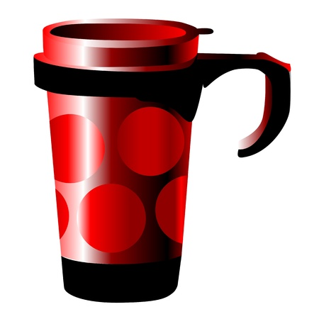 red metal cup with dots isolated on white