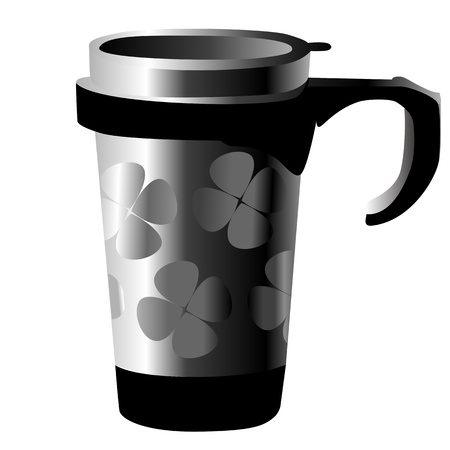 silver metal cup with shamrocks isolated on white