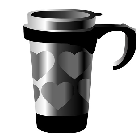 silver metal cup with hearts isolated on white