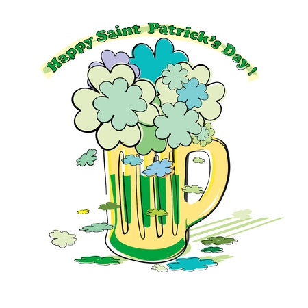 full day: Saint Patricks Day  pint full of green beer and shamrocks foam, doodle isolated on white