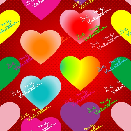 valentines day pattern with neon glow hearts, lightened text and pop art background Vector